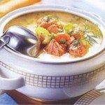 Суп из мидий и креветок